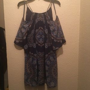 Macy's boho hippy peekaboo dress blue